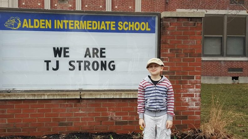Alden school comes together to root for student battling ...