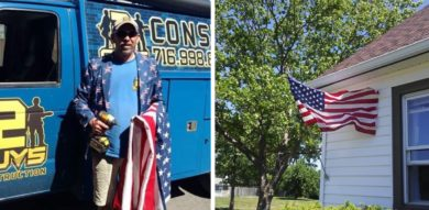 2 Guys Construction owners gift and install 100 American flags today