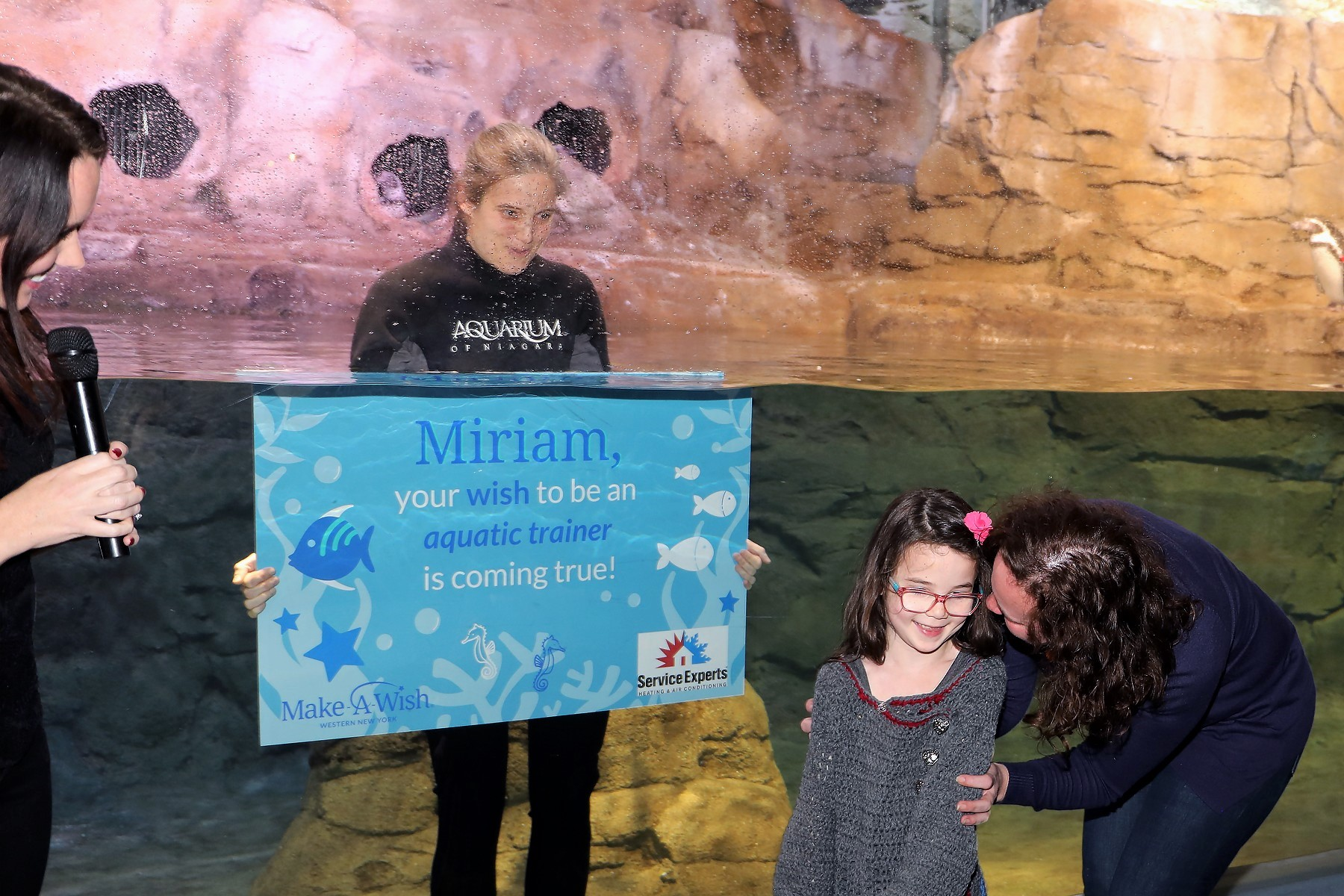 Make-A-Wish surprises young cancer survivor with trip to Florida to be an aquatic trainer!
