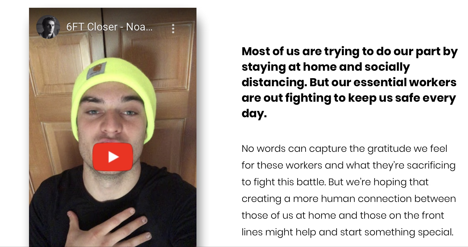 Locals create website that lets you send thank you videos to essential workers on the front lines