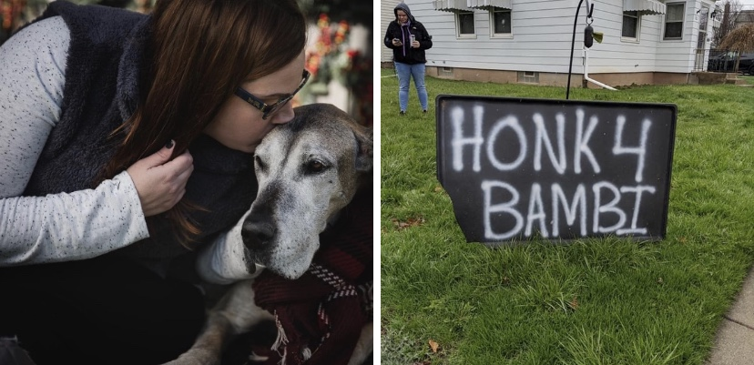 After woman's dog passed away, friends drive by to cheer her up