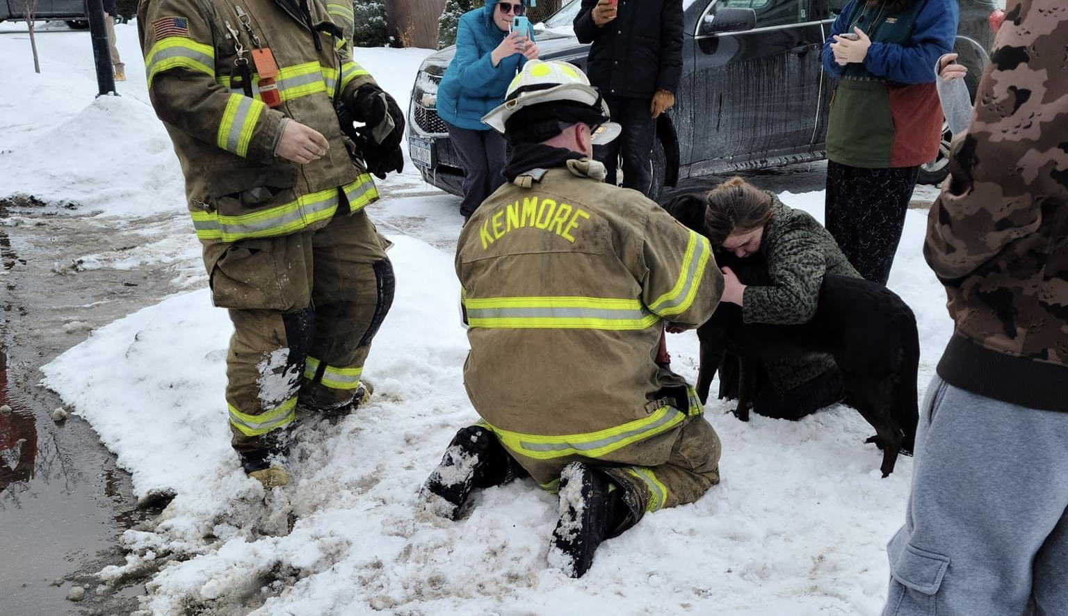 Kenmore Fire Department rescues man and dog from house fire