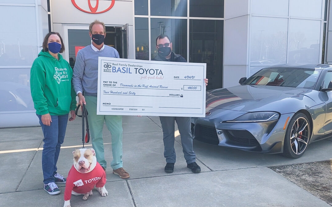 Basil Toyota makes donation to Diamonds in the Ruff Animal Rescue to thank customers!